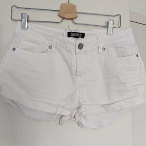 White Denim Cuffed Mid-Rise Shorts
